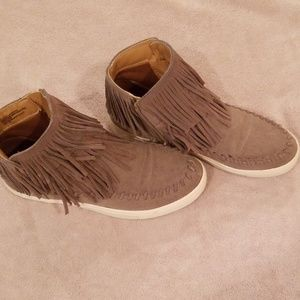 Faux suede booties with fringe